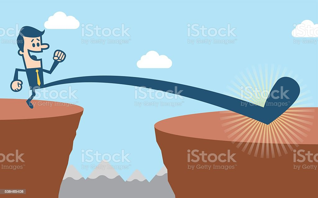 Over the cliff vector art illustration