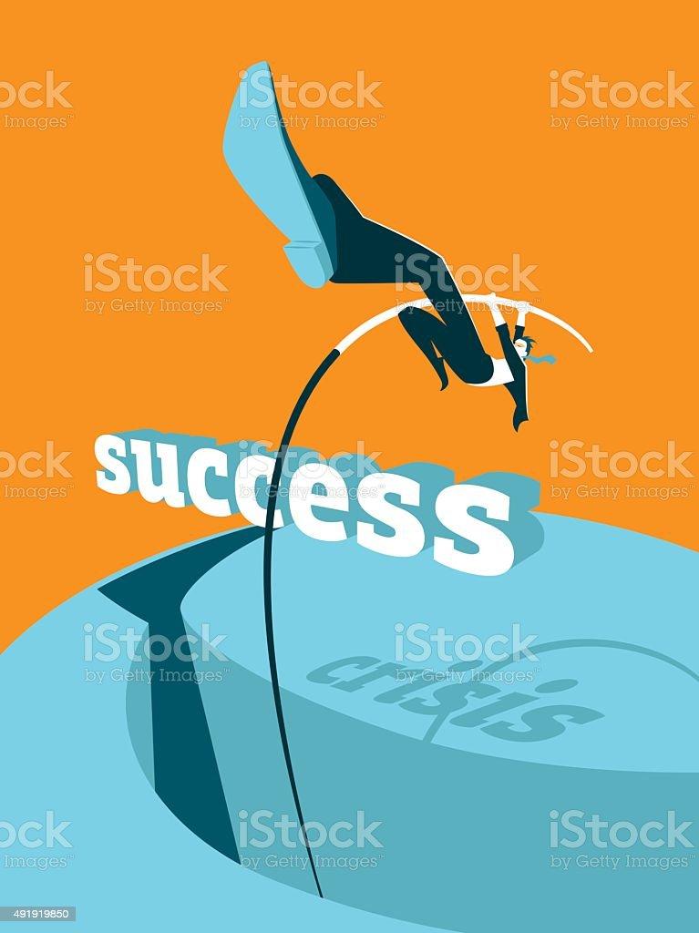Overcoming the crisis. Success. Pole vault vector art illustration