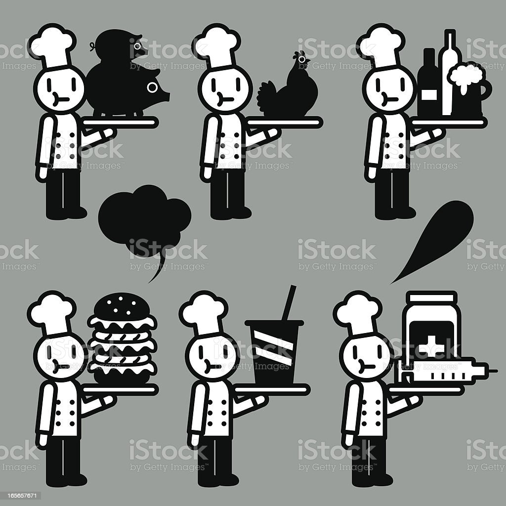 Overeating health risks(a lot of food and medication) vector art illustration