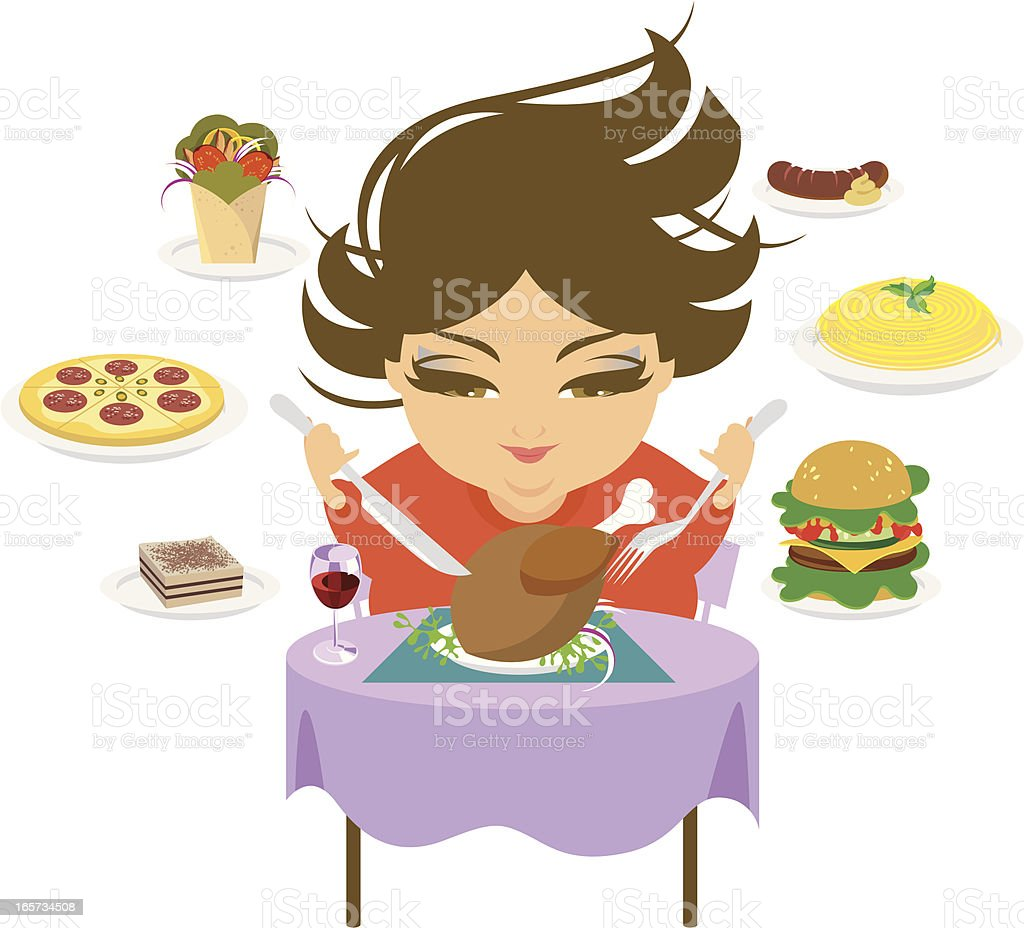 Overeating. vector art illustration