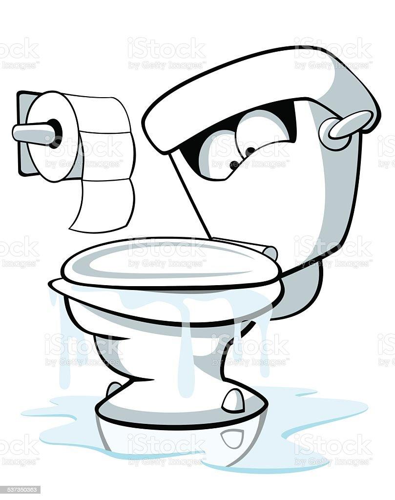 Overflowing Toilet vector art illustration