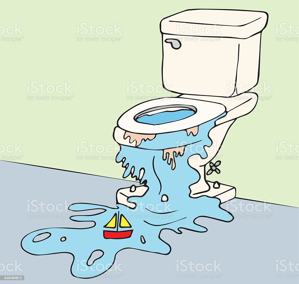 Overflowing toilet vector art illustration