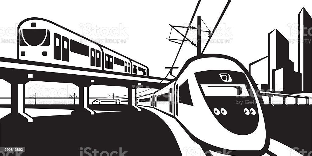 Overground rail transportation vector art illustration