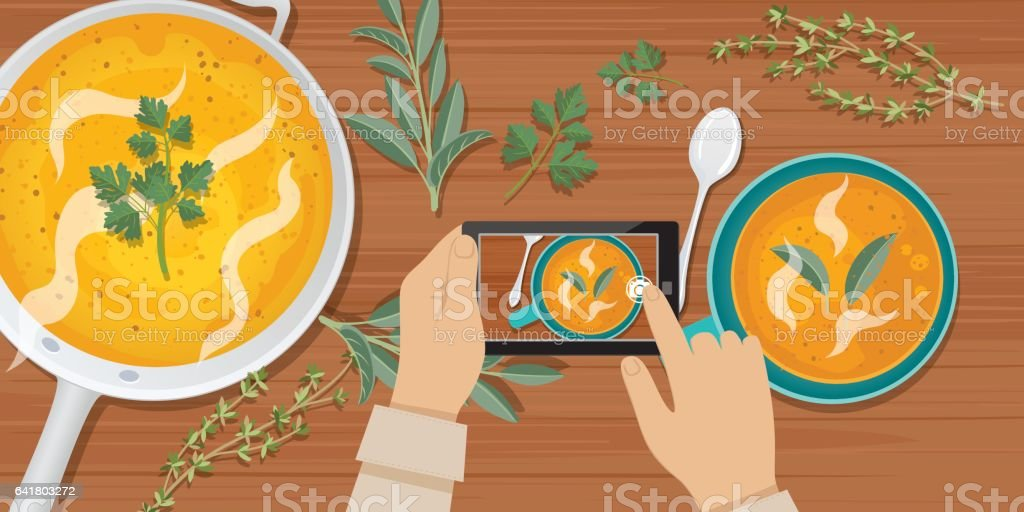 Overhead Angle Of A Person Using A Smart Phone to Take Food Photos vector art illustration