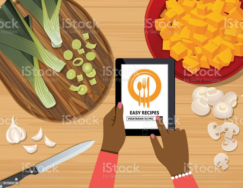 Overhead Angle Of A Person Using Apps Online For Cooking vector art illustration
