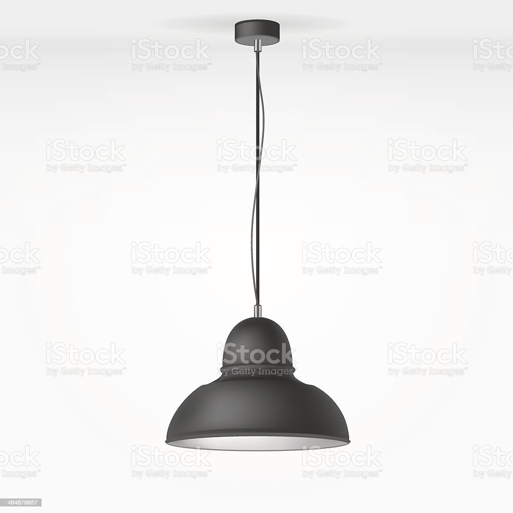 Overhead lamp hanging from the ceiling vector art illustration