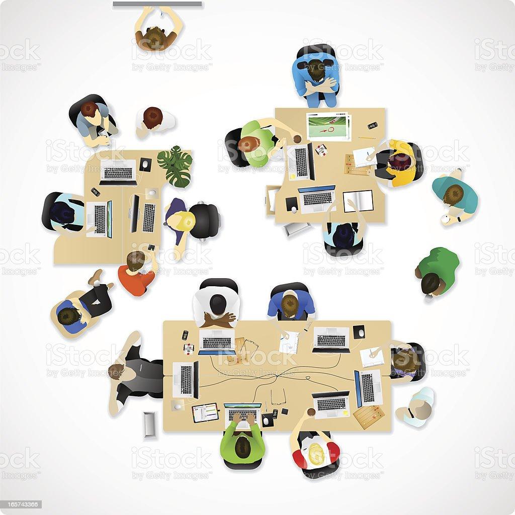 Overhead office or agency vector art illustration