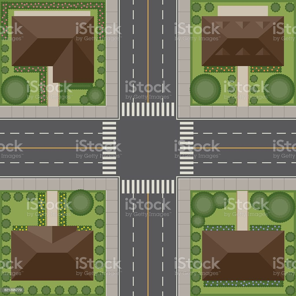 Overhead Perspective View of a Residential Traffic Intersection vector art illustration