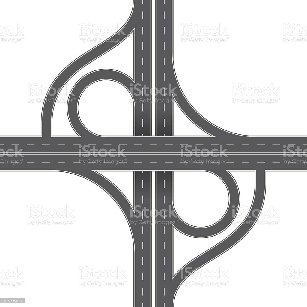 Overhead Perspective View of a Traffic Interchange vector art illustration