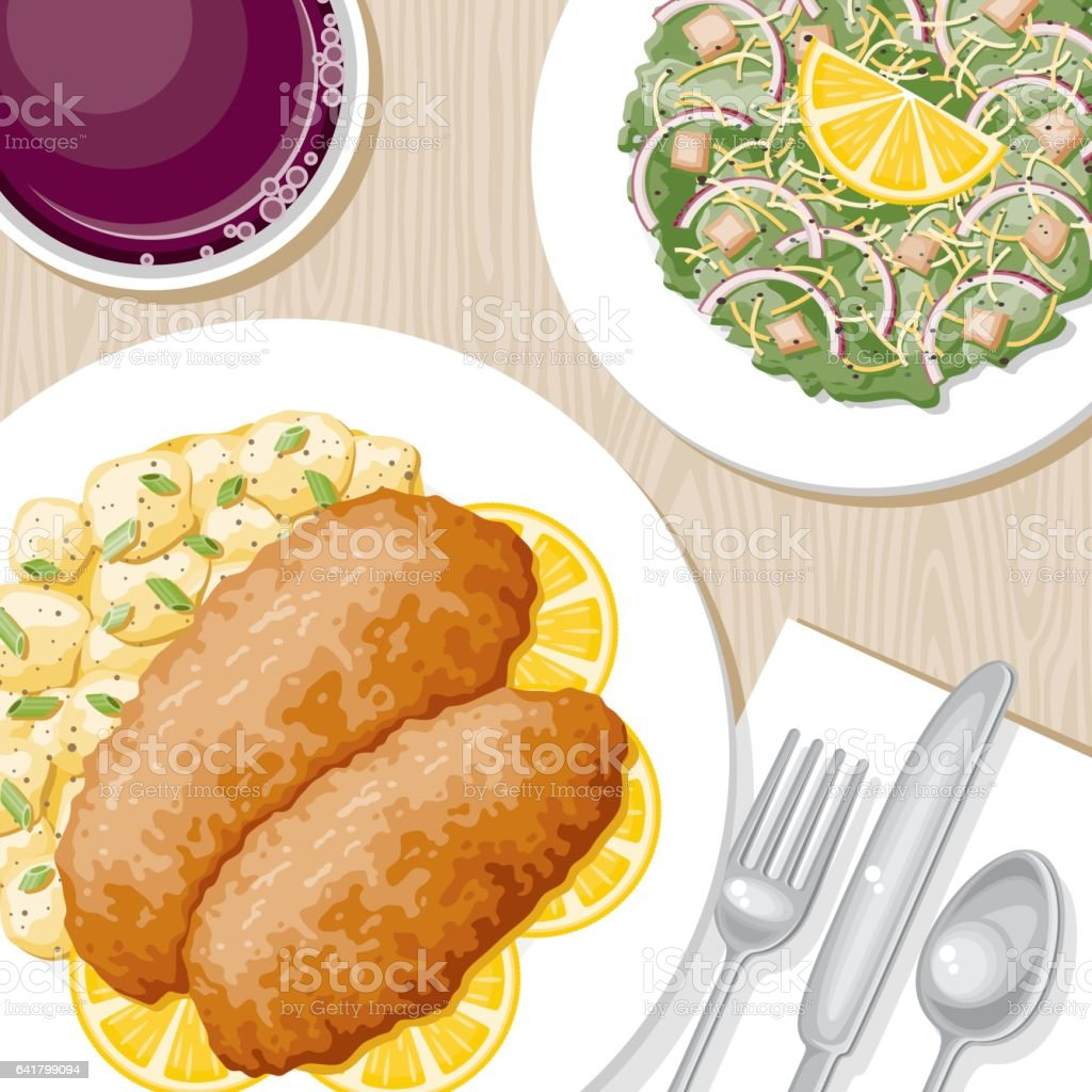 Overhead View of a Dinner Table vector art illustration
