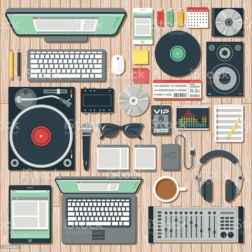 Overhead View of a Disk Jockey's Desk Space vector art illustration