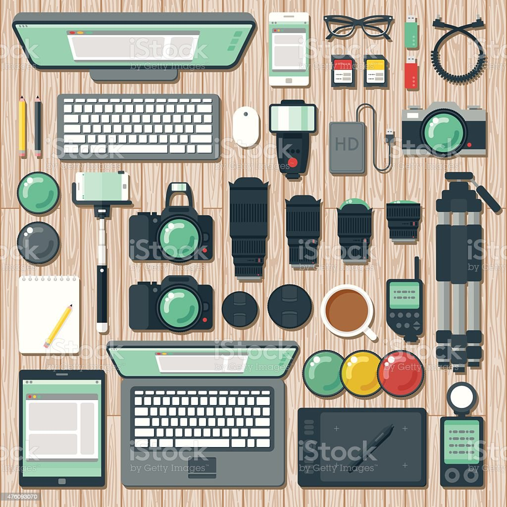 Overhead View of a Photographer's Desk Space vector art illustration