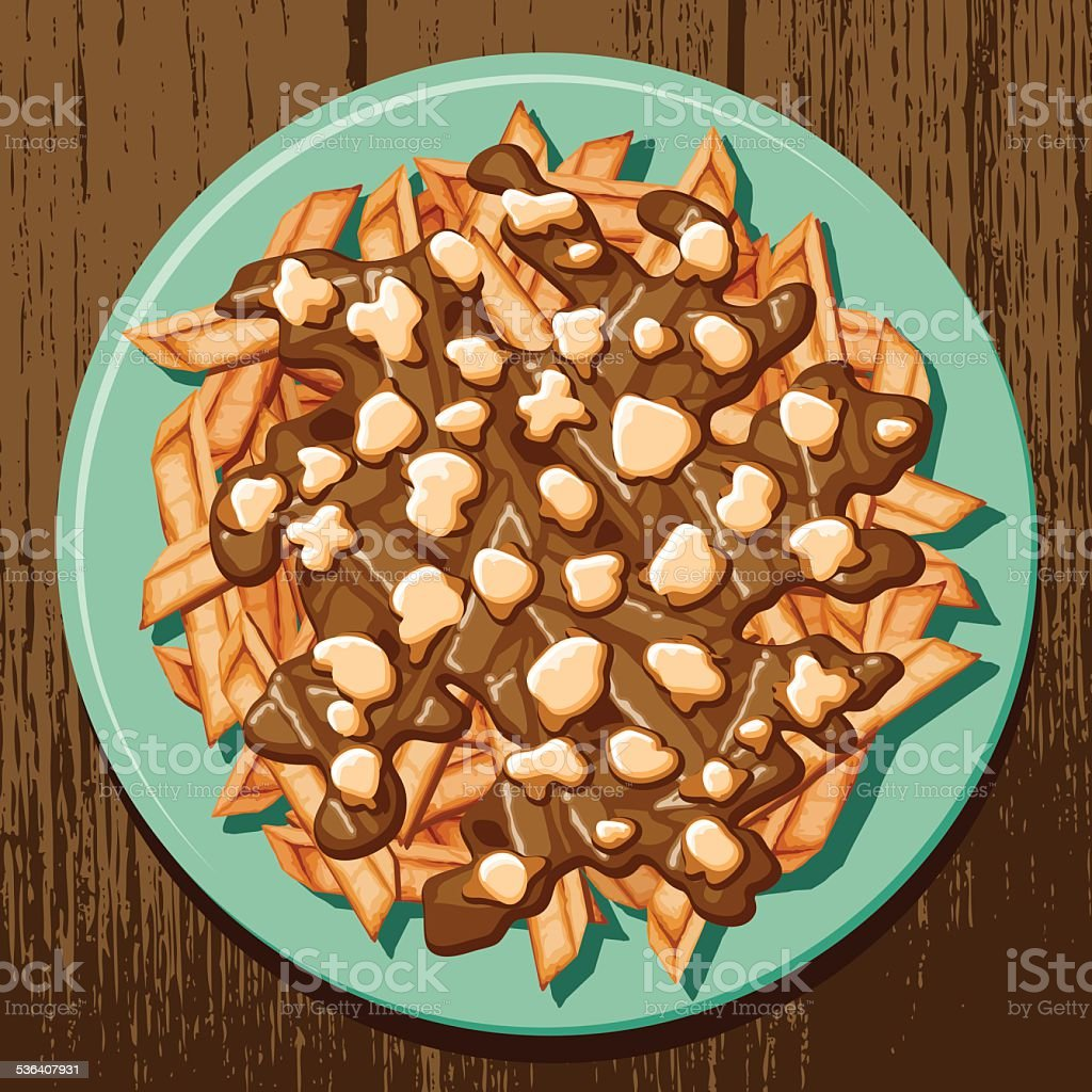 Overhead view of a plate of poutine vector art illustration