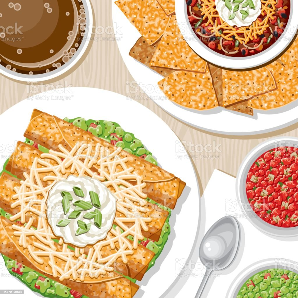 Overhead View of Appetizers vector art illustration