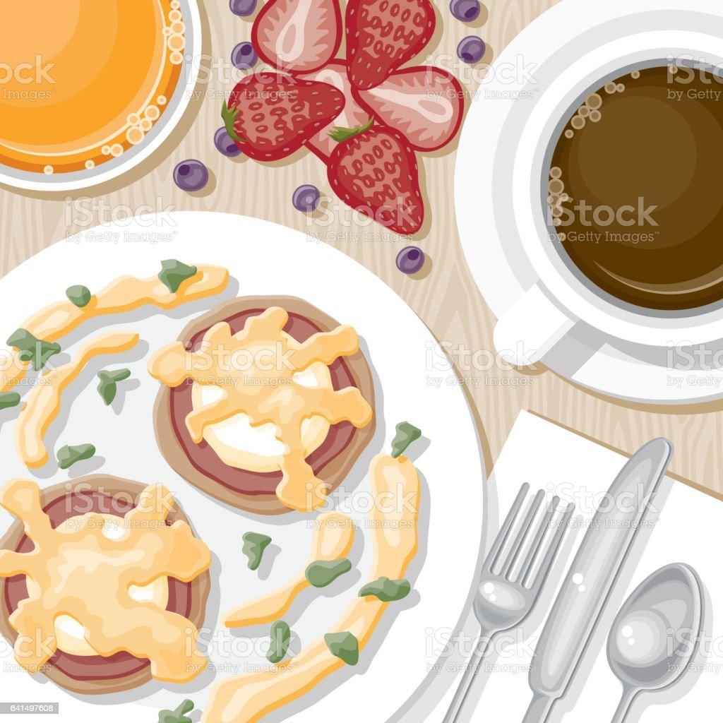 Overhead View of Breakfast Foods vector art illustration
