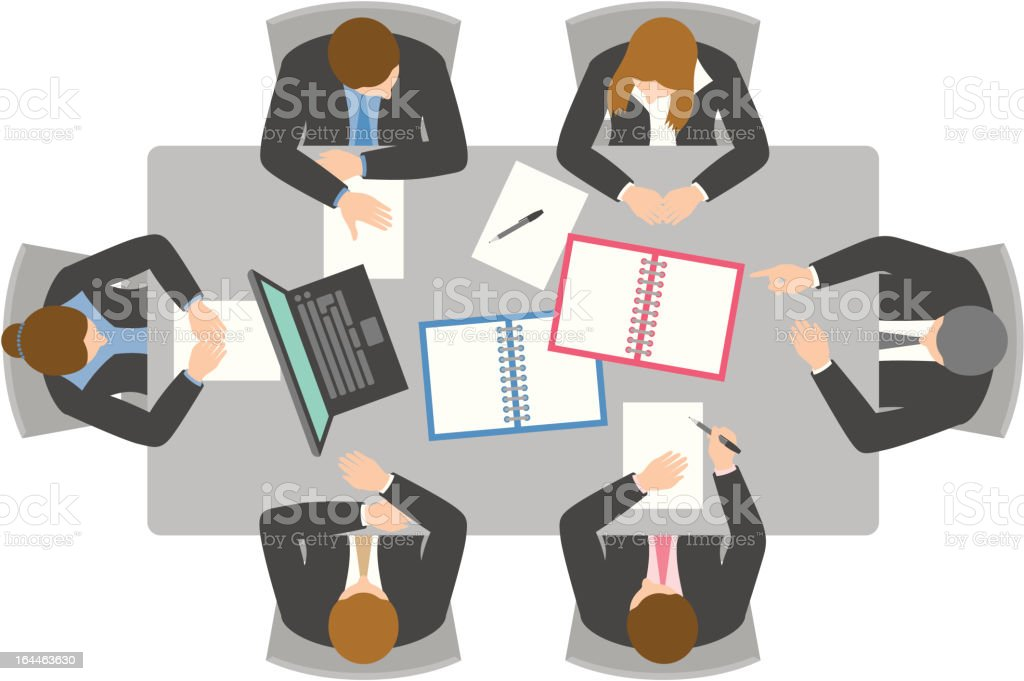 Overhead view of business meeting vector art illustration