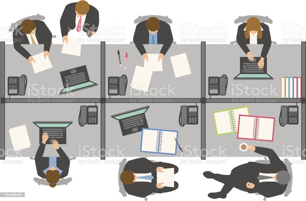 Overhead view of business people working in office vector art illustration