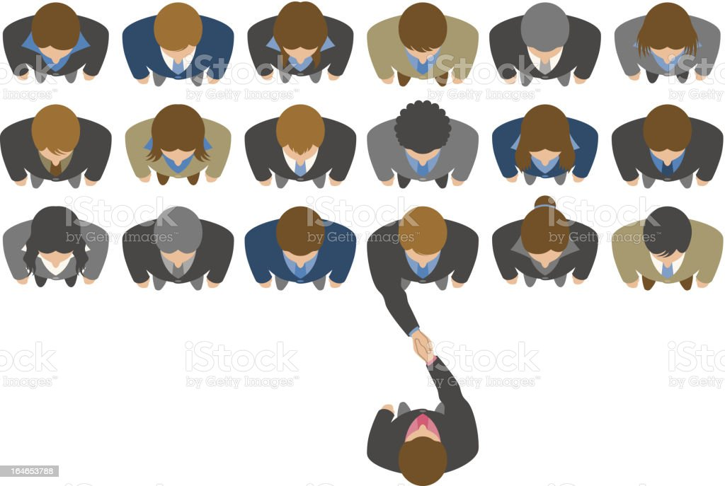Overhead view of businessman choosing a business partner vector art illustration