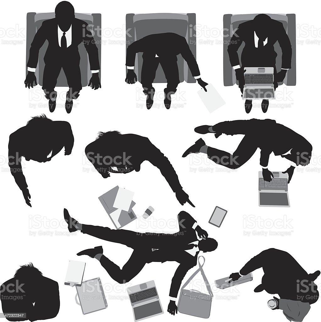 Overhead view of businessmen royalty-free stock vector art