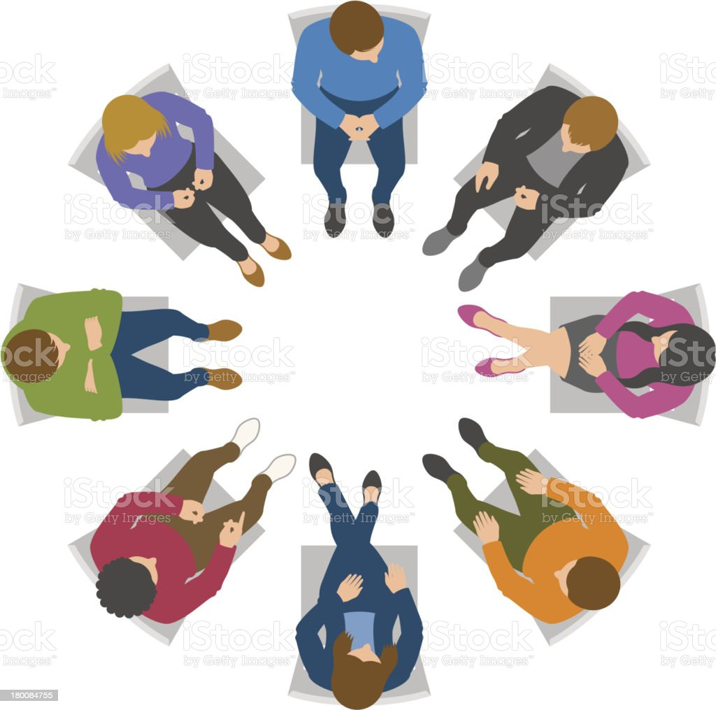 Overhead view of group discussion vector art illustration