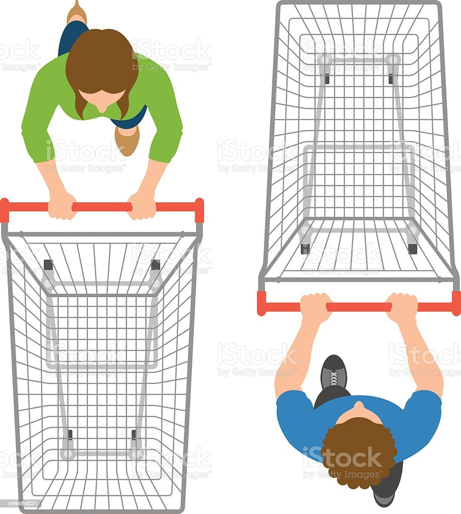 Overhead view of man and woman pushing empty trolleys vector art illustration