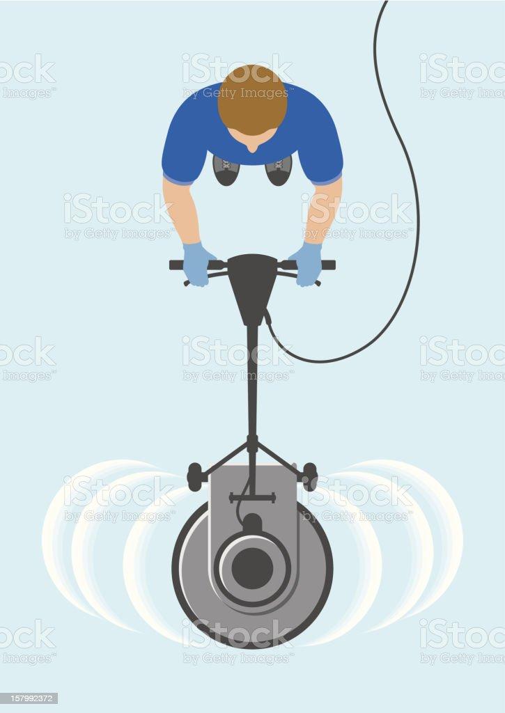 Overhead view of man cleaning floor vector art illustration