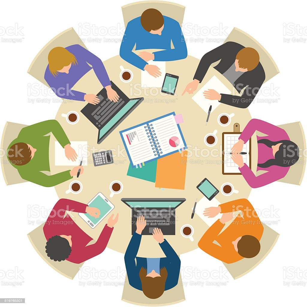 Overhead view of people discussing at round table vector art illustration