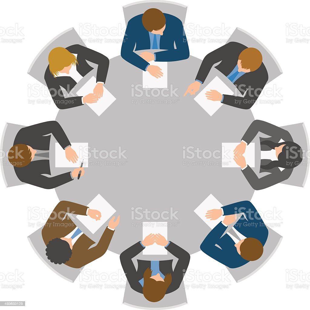 Overhead view of round table meeting vector art illustration