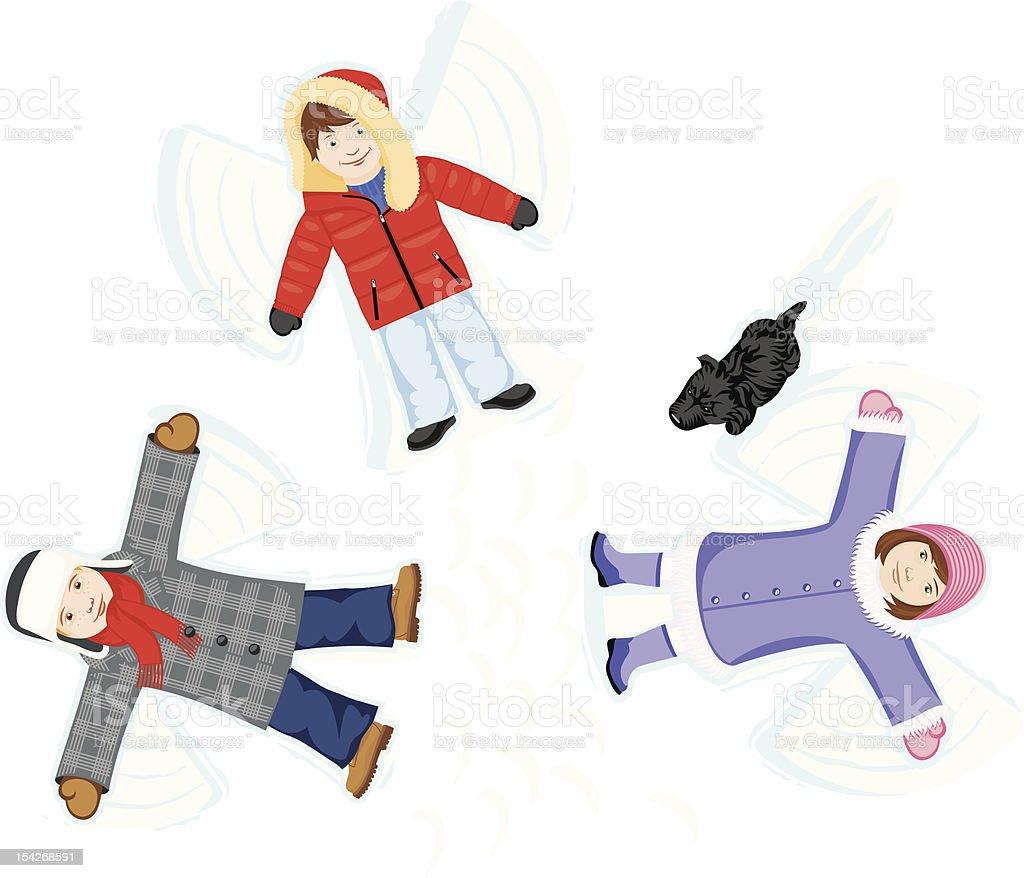 Overhead view of three cartoon children creating snow angels vector art illustration