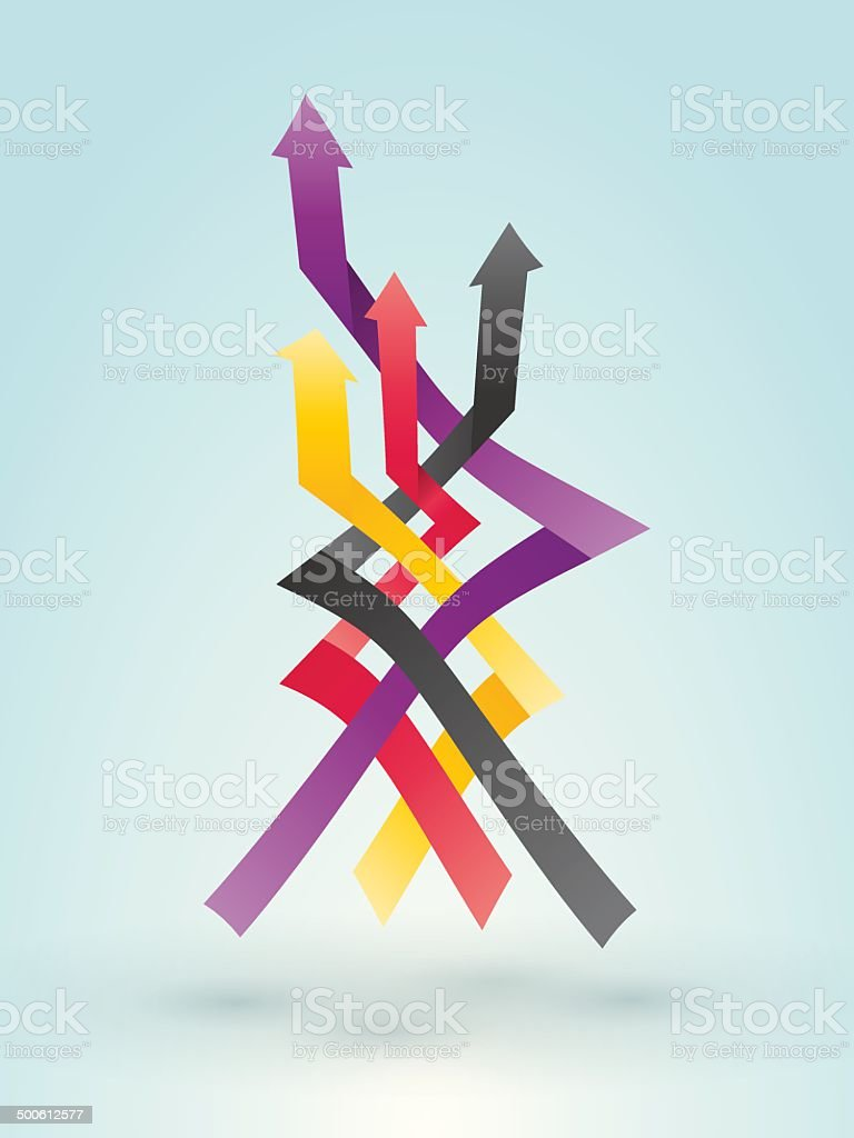 Overlapping colored arrow pointing to the target vector art illustration