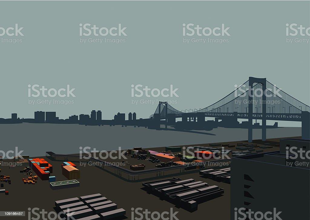 overlook wharf vector art illustration