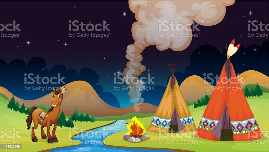 Overnight Camp vector art illustration