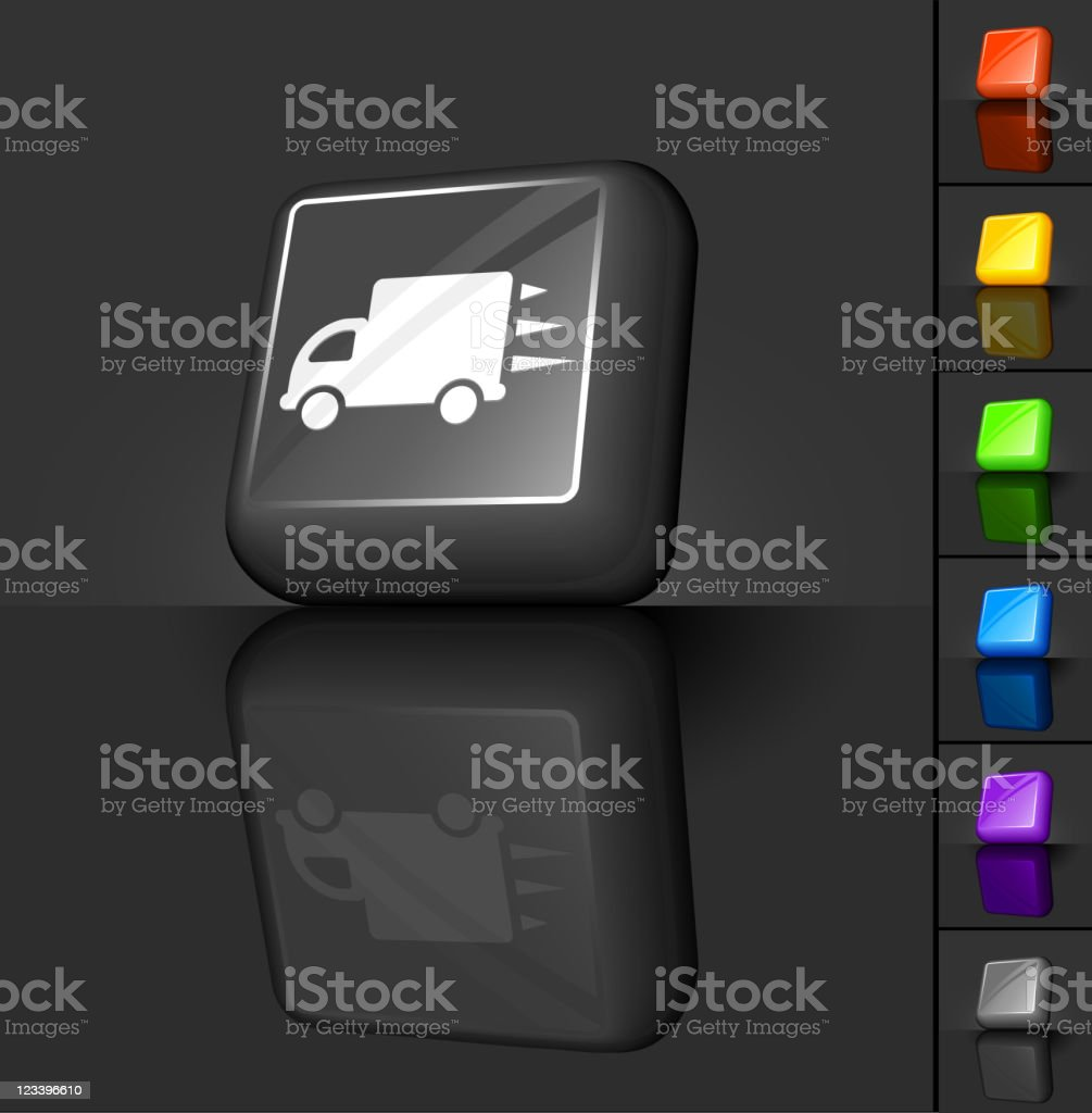Overnight delivery truck 3D button design vector art illustration