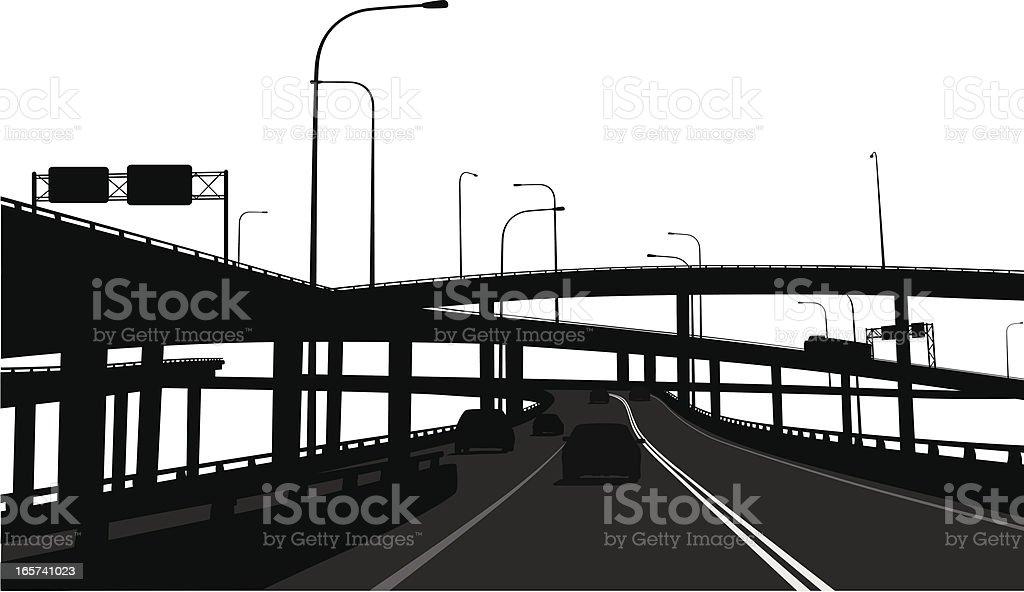 Overpassing  Vector Silhouette vector art illustration
