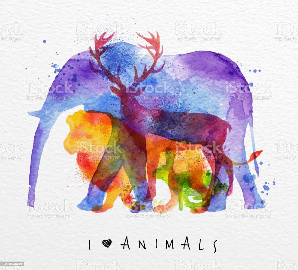 Overprint animals elephant vector art illustration