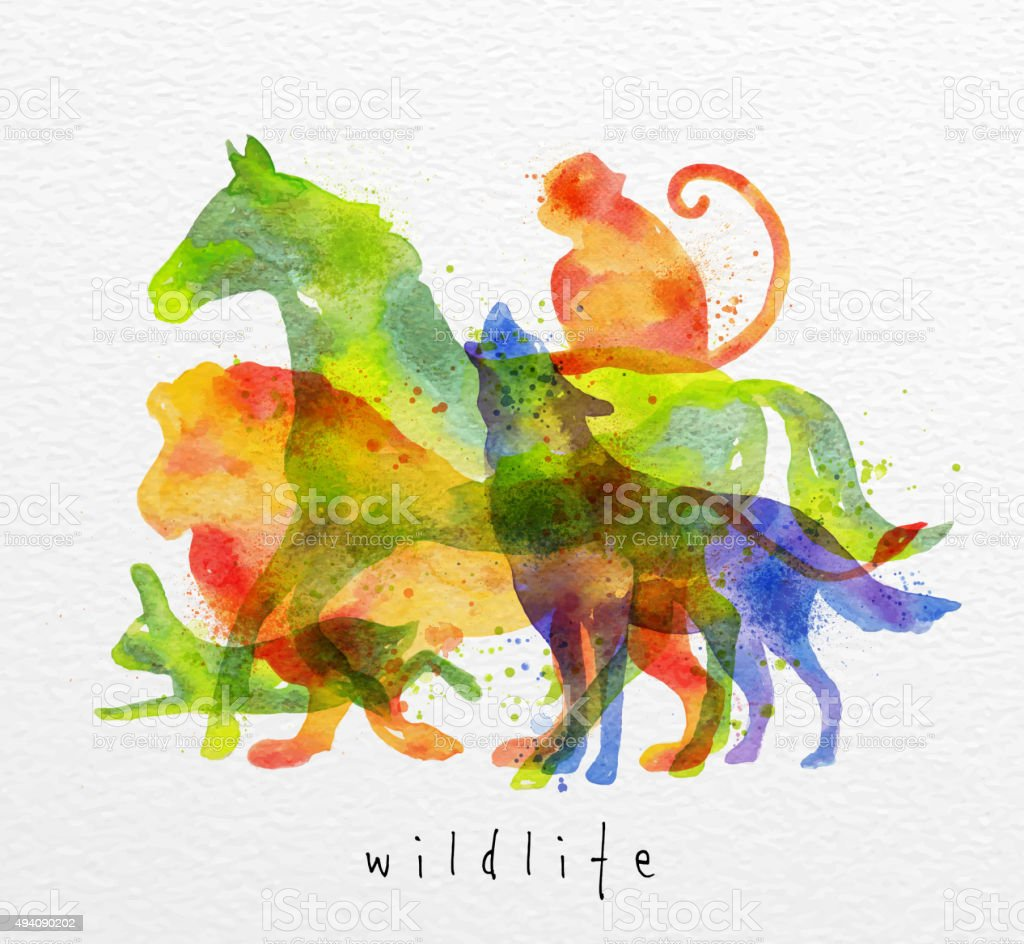 Color animals ,horse, wolf, monkey, lion, rabbit, drawing overprint...
