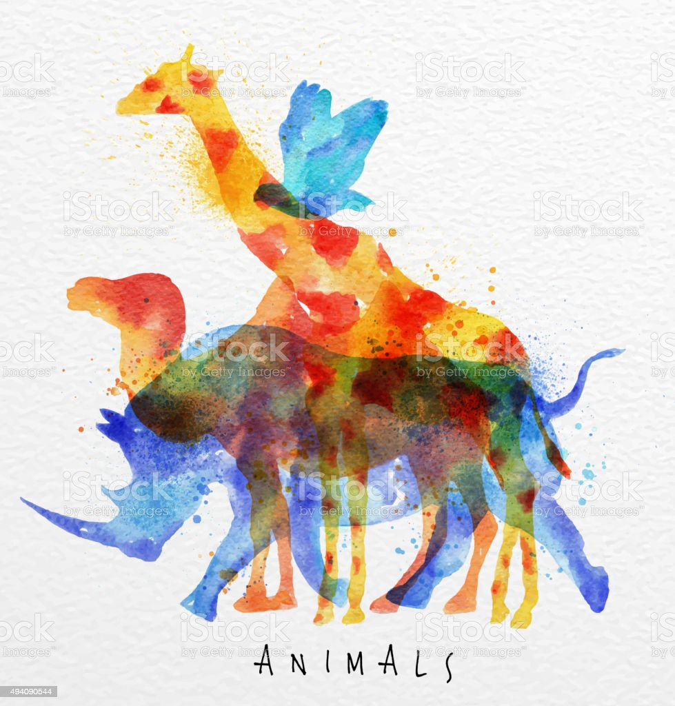 Overprint animals rhino vector art illustration
