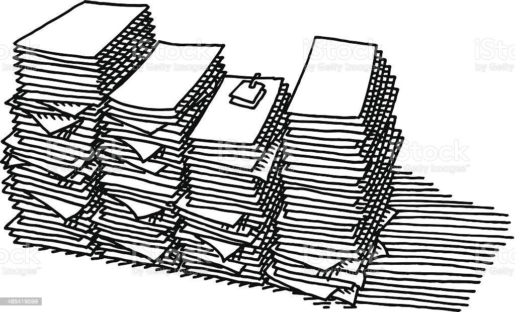 Overtime Paper Stack Work Drawing vector art illustration
