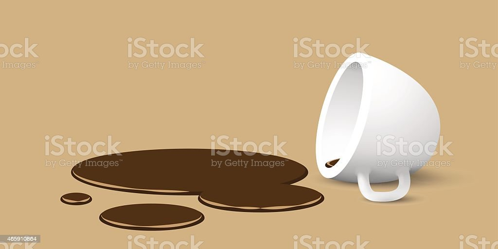 overturned cup of coffee vector art illustration