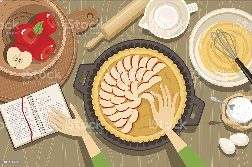Overview illustration of hands baking an apple pie vector art illustration