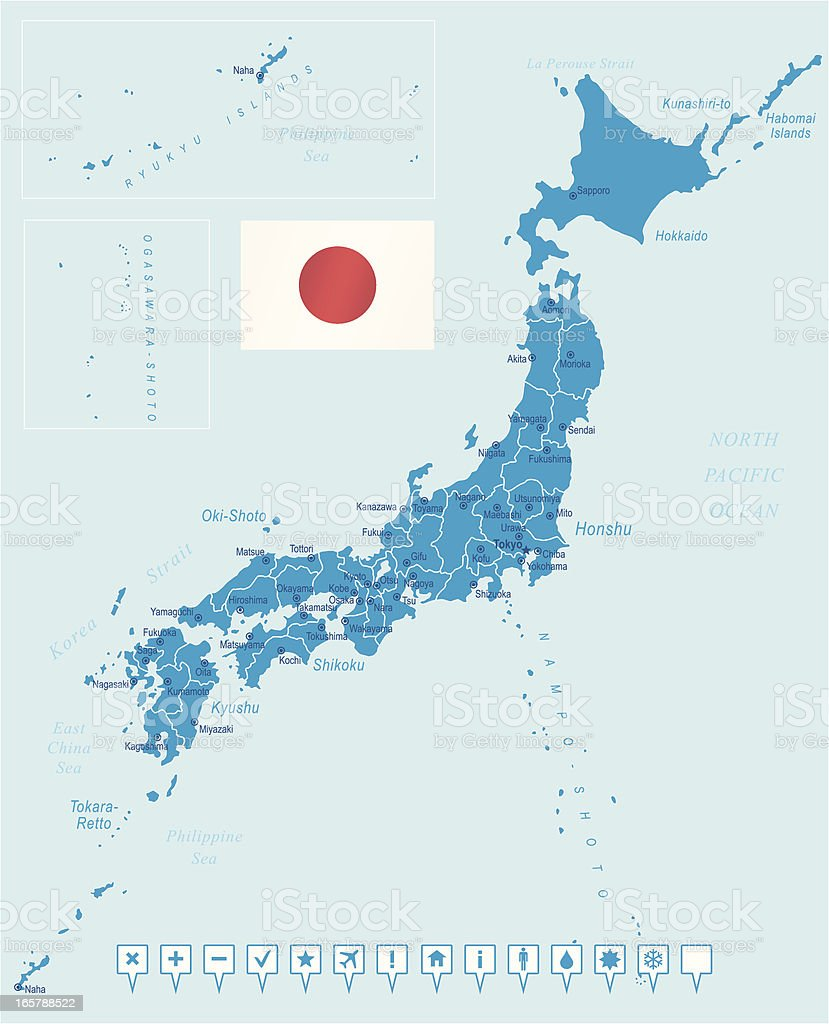 Overview map of Japanese cities royalty-free stock vector art