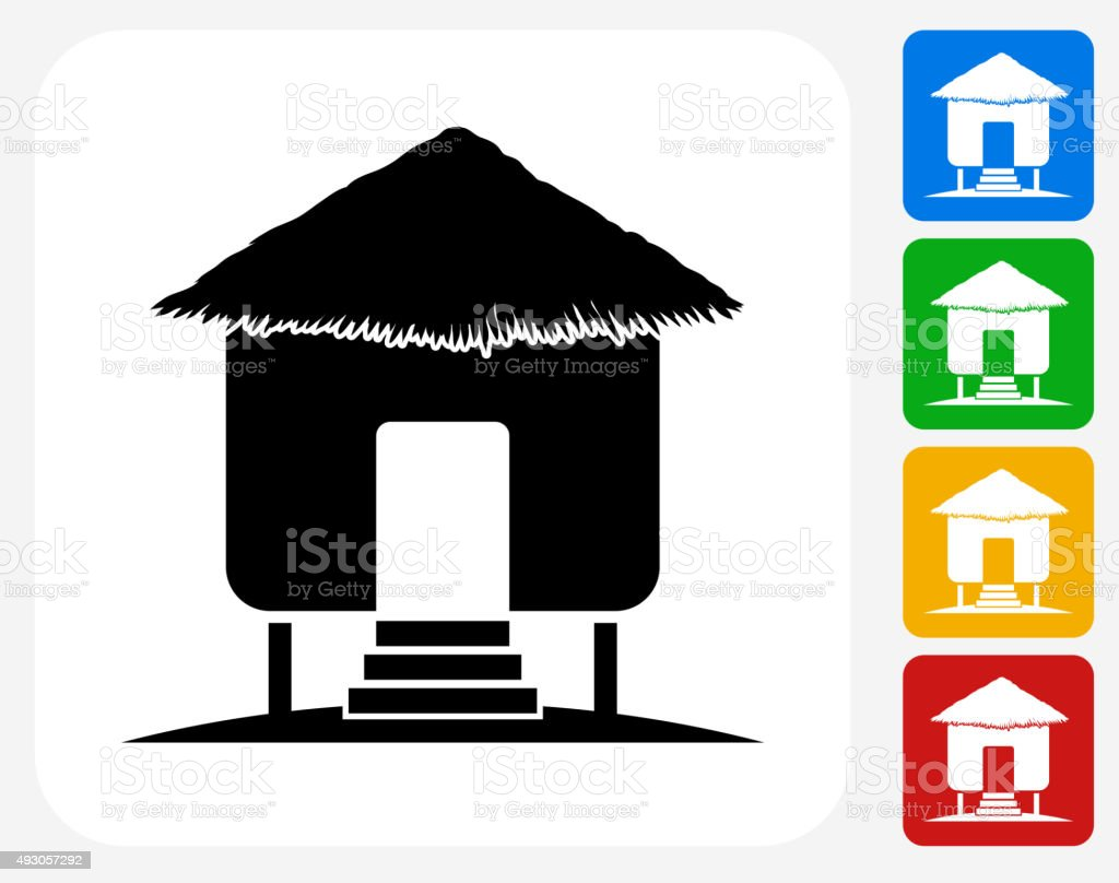 Overwater Bungalow Icon Flat Graphic Design vector art illustration