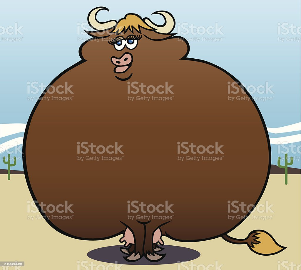 Overweight Cow vector art illustration