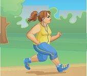 Overweight girl is jogging. Cartoon vector illustration