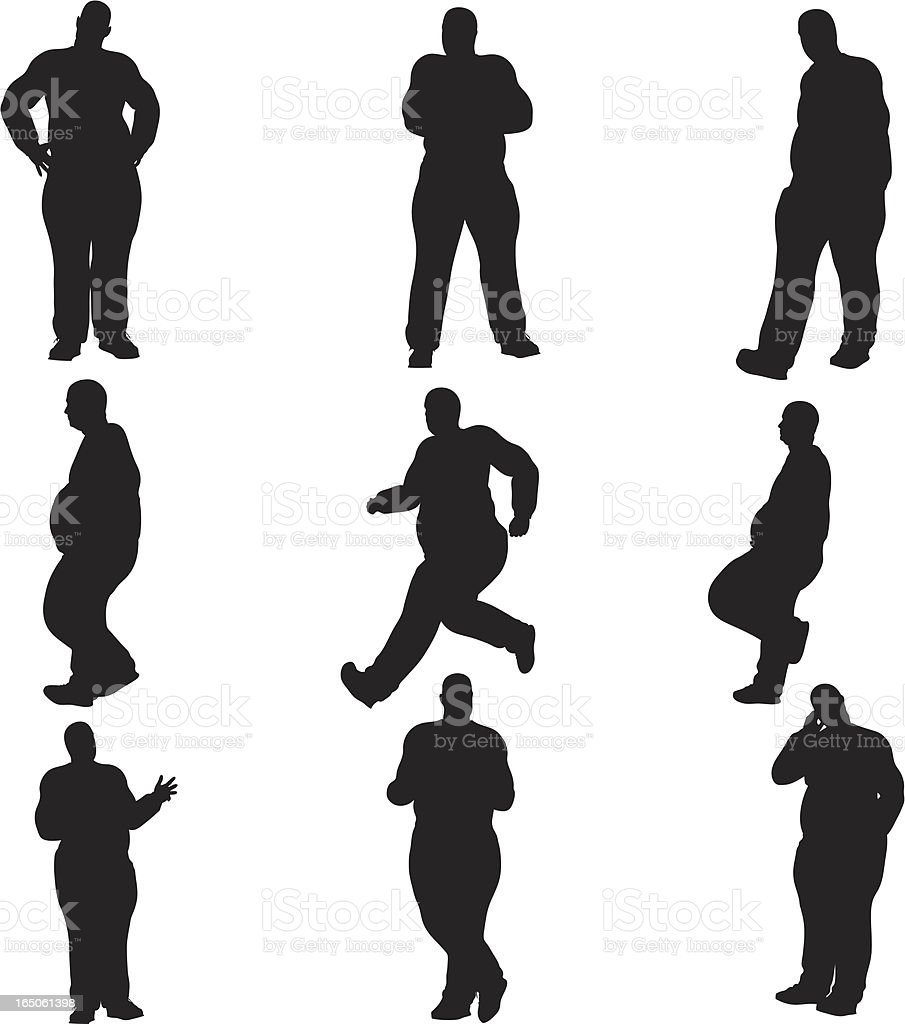 Overweight Male Silhouette Collection (vector+raster) vector art illustration