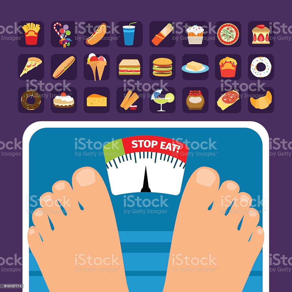 Overweight on scale concept with sweets vector art illustration