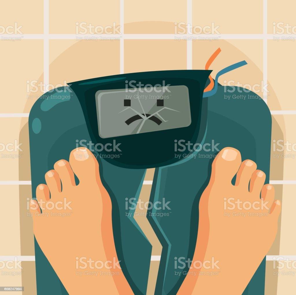 Overweight people. Broken scales vector art illustration