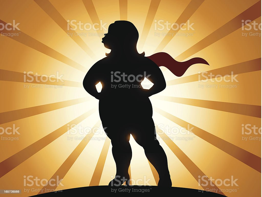 Overweight Super Heroine royalty-free stock vector art
