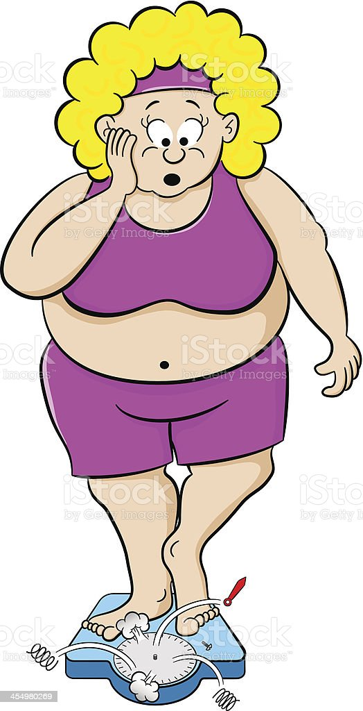 overweight woman on bathroom scale royalty-free stock vector art