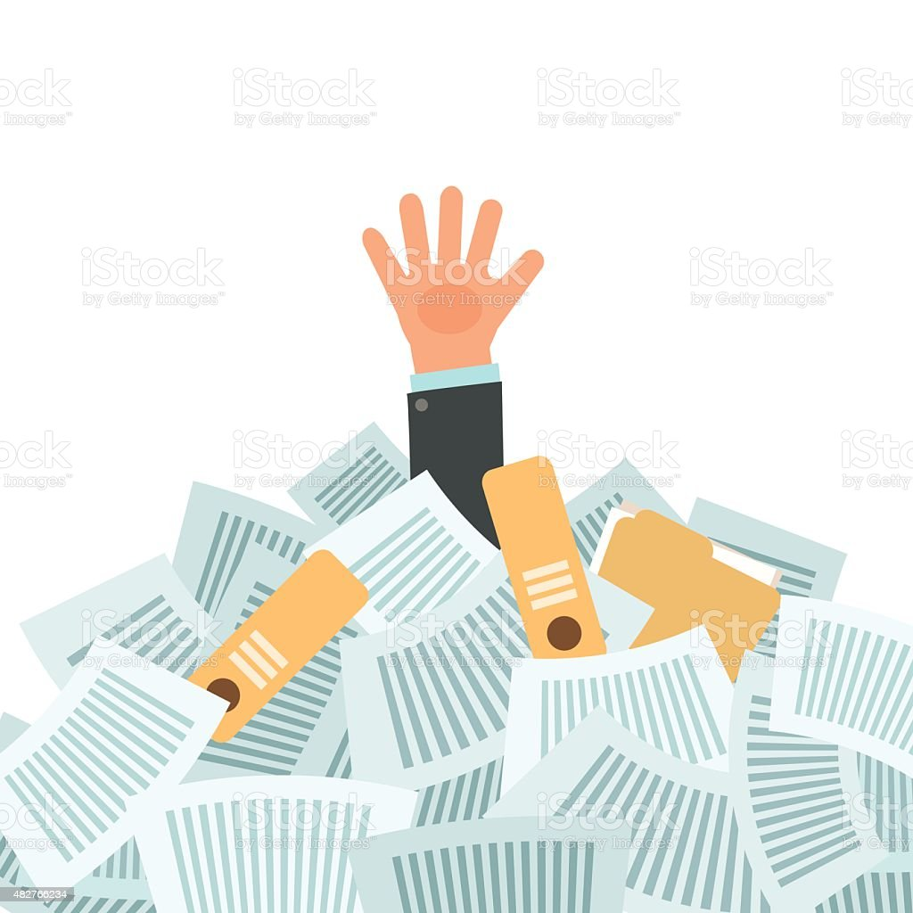 Overworked businessman under a lot of documents vector art illustration